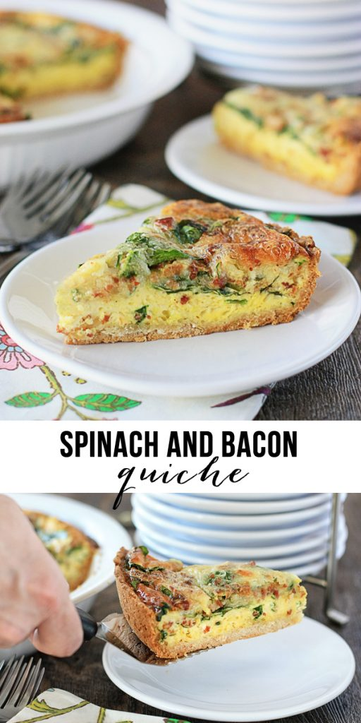 Delicious Spinach and Bacon Quiche!  Impossibly easy with ingredients you have on hand.  www.livelaughrowe.com #GetYourBettyOn #ad