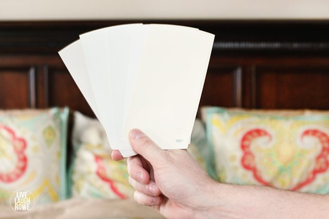A few paint swatches we grabbed to consider when repainting our master bedroom.  Care to weigh in?  www.livelaughrowe.com
