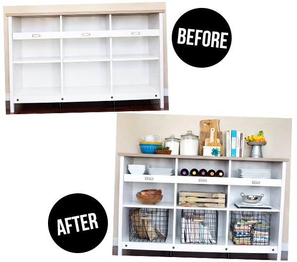 I'm in love with my new storage credenza! Before and after shot. www.livelaughrowe.com #PutTogether #ad
