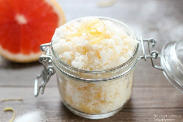 All Natural Coconut Grapefruit Sugar Scrub with Labels makes a great gift found on livelaughrowe.com