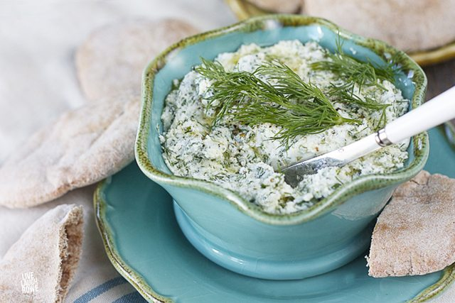Delicious Herbed Feta Spread.  A perfect pairing with pita bread or crackers for an appetizer or snack!!  BONUS:  Serve with a glass of dry white wine! www.livelaughrowe.com