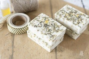 A delicious smelling handmade creation, Lavender Honey Soap. Super simple and great for gift giving! www.livelaughrowe.com