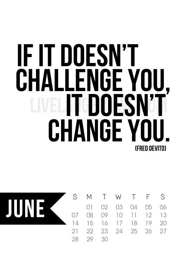 Free 5x7 Printable Calendar for June 2015 with inspirational quote!  www.livelaughrowe.com