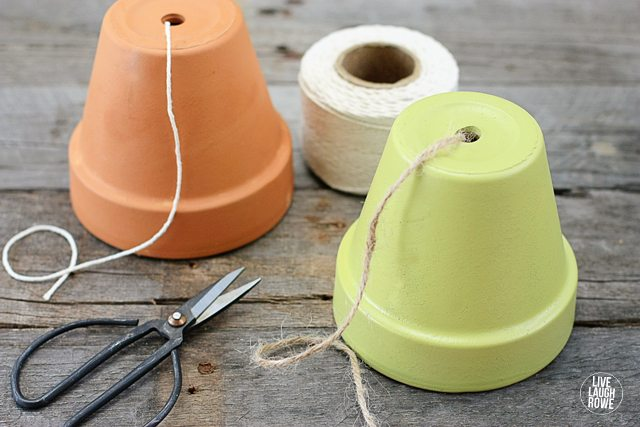 Turn a terra cotta pot into a string and/or twine dispenser! Great for your kitchen, potting bench or craft room! www.livelaughrowe.com