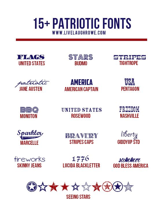 Snatch up these festive and free Patriotic Fonts from www.livelaughrowe.com