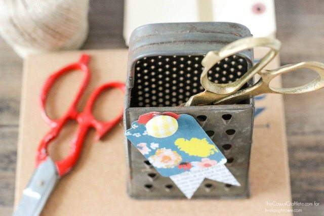 Vintage Metal Cheese Graters make great storage for office and craft supplies!  livelaughrowe.com