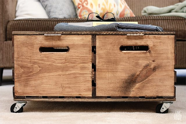 Easy and Functional DIY Storage Ottoman made from wooden crates!  www.livelaughrowe.com