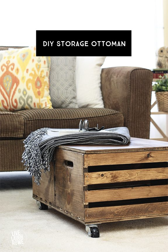 Easy and Functional DIY Storage Ottoman made from wooden crates!  www.livelaughrowe.com - DIY Storage Ottoman - Live Laugh Rowe