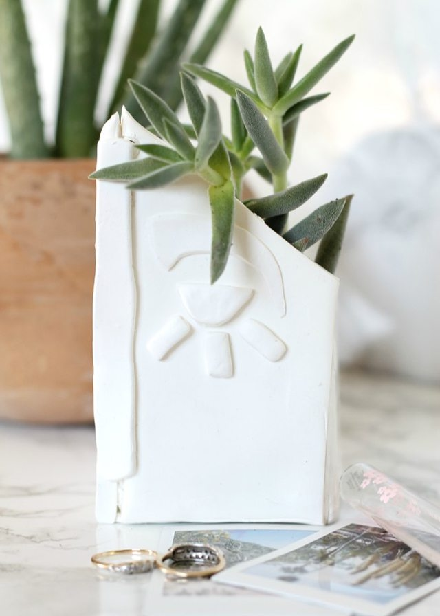 DIY Succulent Clay Planter via Fry Sauce and Grits