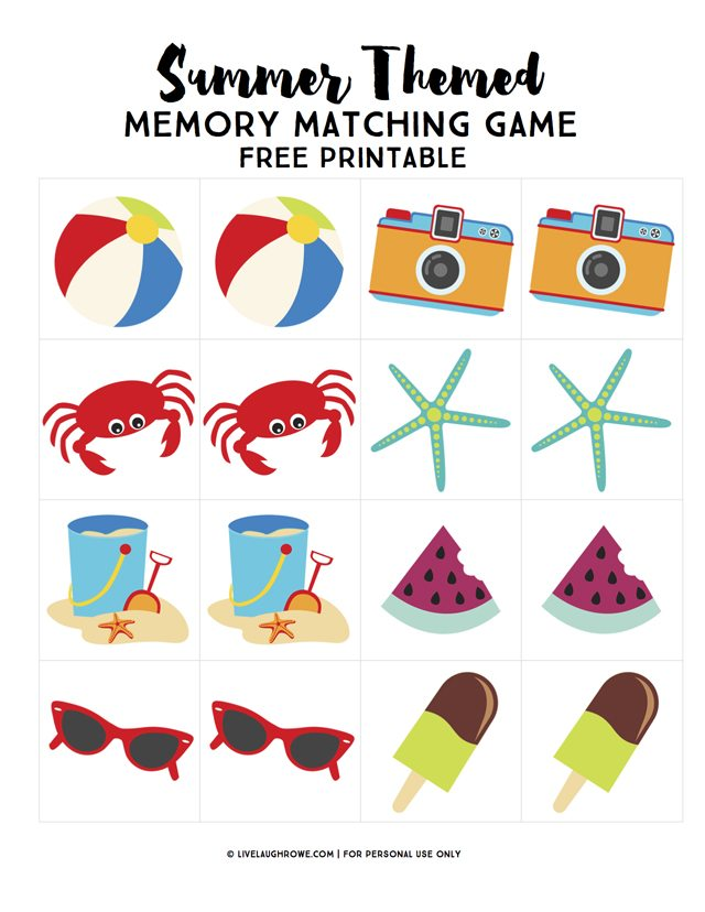 Memory Matching Game Printable | Summer Boredom Busters