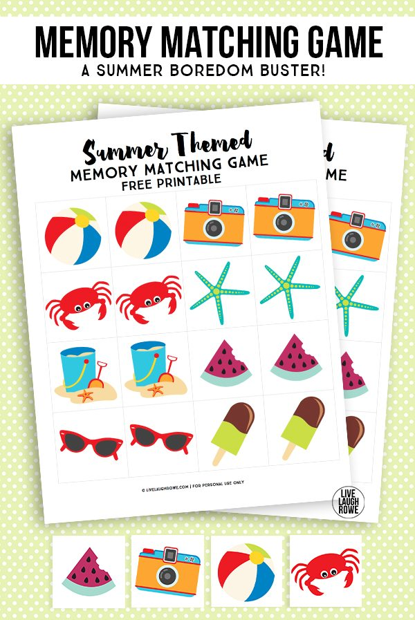 Free Summer Memory Matching Game, a great boredom buster for the little ones! Simply print, cut and play! livelaughrowe.com
