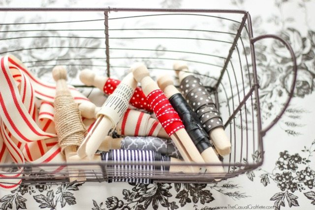Organization  Ribbon Clothespins by www.TheCasualCraftlete.com