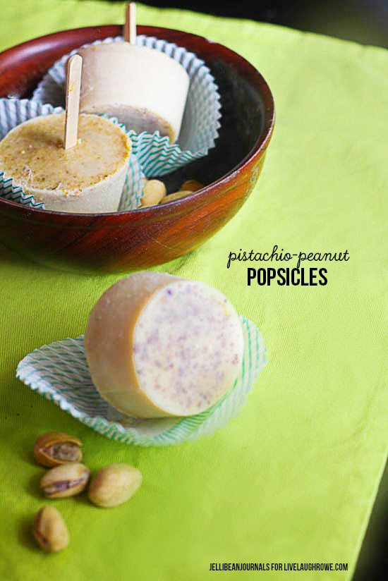 Pistachio Peanut Popsicles Recipe. Frozen Treat - jellibeanjournals for livelaughrowe.com