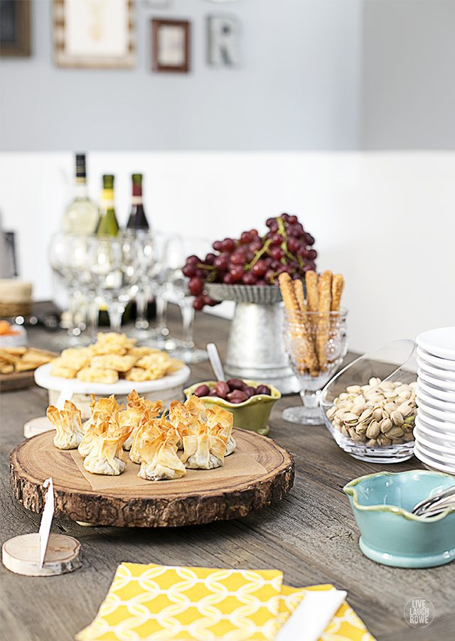 Wine party fun and a new recipe! Mushroom Phyllo Bundles served with ...