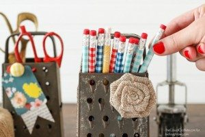 Vintage Cheese Graters make great storage for office and craft supplies! livelaughrowe.com