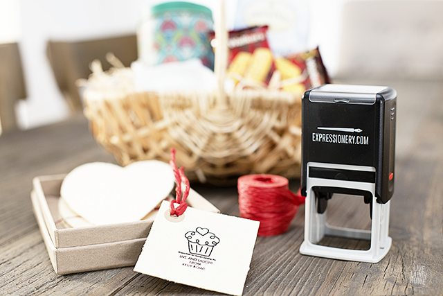 Make your own gift tags with notecards and personalized stamps from Expressionery.