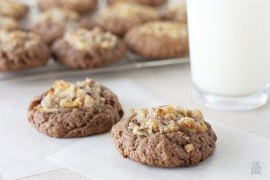 Delicious and moist German Chocolate Thumbprint Cookies. livelaughrowe.com