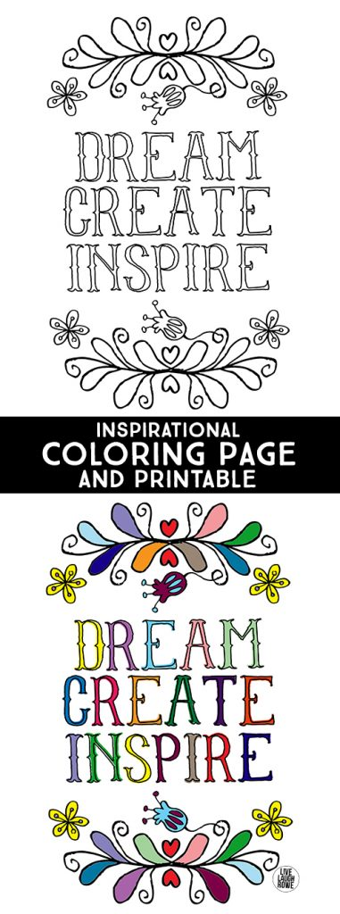 dream create inspire inspirational coloring page for kids of all ages not a fan