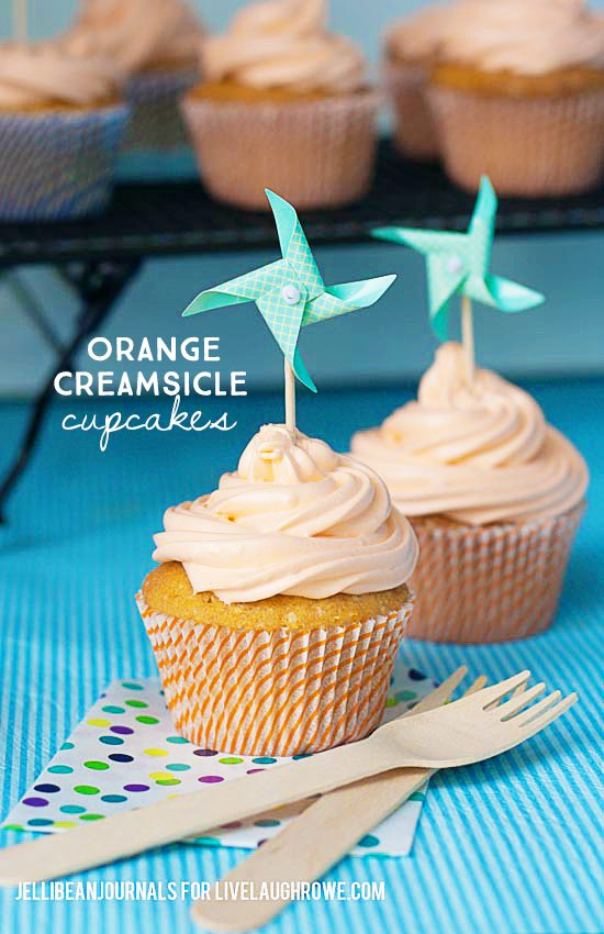 Orange Ice Cream Cupcakes Recipe — Dishmaps