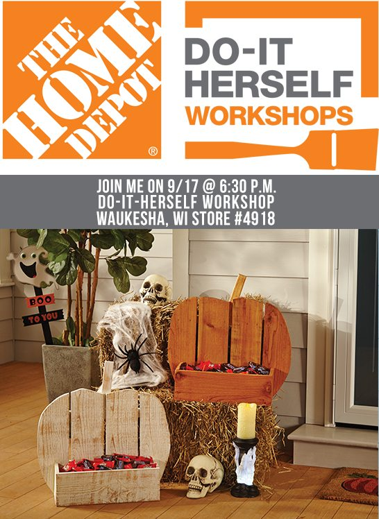 Join me on Thursday, September 17th at 6:30 p.m. for the DIH Workshop being held at the Waukesha, WI Home Depot (Store #4918). www.livelaughrowe.com