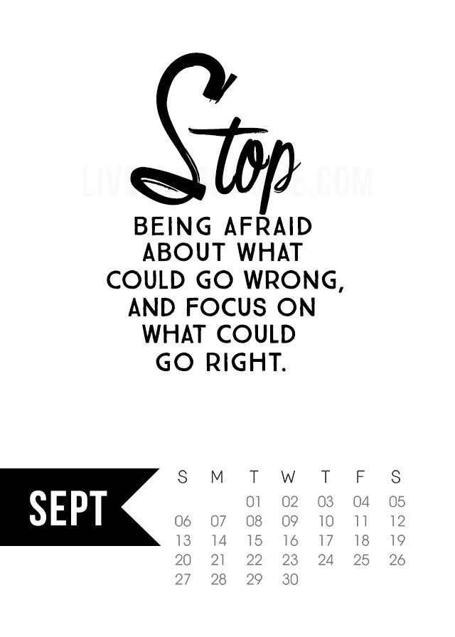 Free 5x7 September 2015 Calendar Printable inspirational quote! www.livelaughrowe.com