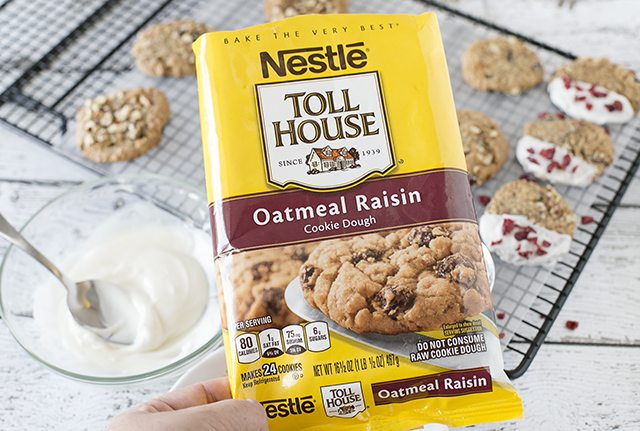 Semi-homemade cookies using Nestle Toll House Oatmeal Raisin Cookies.