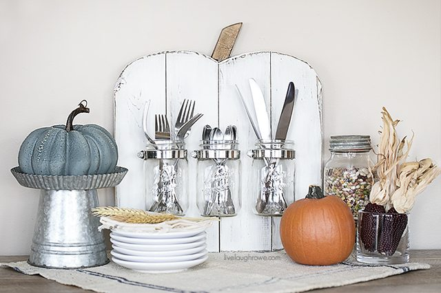 DIY Rustic Pumpkin with Mason Jars -- a perfect addition to your holiday entertaining! livelaughrowe.com