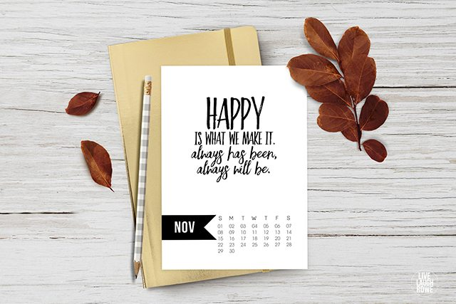 November 2015 Calendar Printable - Live Laugh Rowe