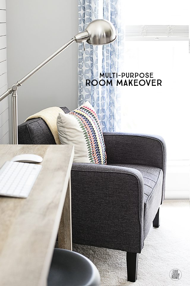 Our Front Room Makeover is FINALLY revealed. The plank wall and furniture choices are a perfect pairing. livelaughrowe.com