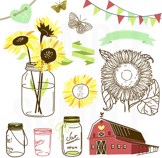 Sunflowers and Mason Jars from GraphicStock