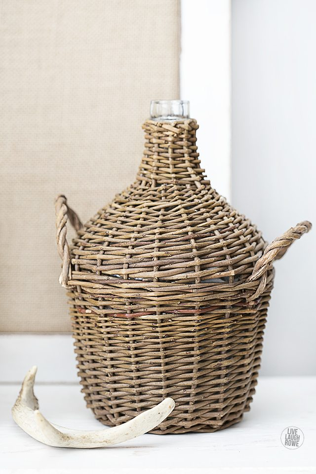 Fabulous Wicker Jug and Antlers, purchased at the Vintage Market Days. www.livelaughrowe.com,