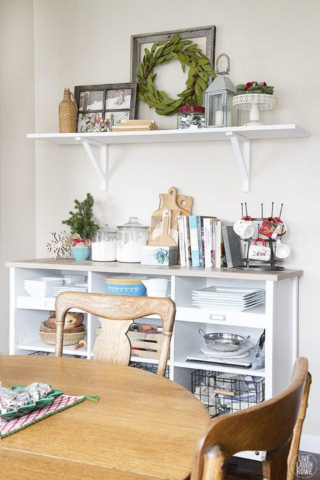 Christmas Home Tour. Love this buffet and shelf. livelaughrowe.com