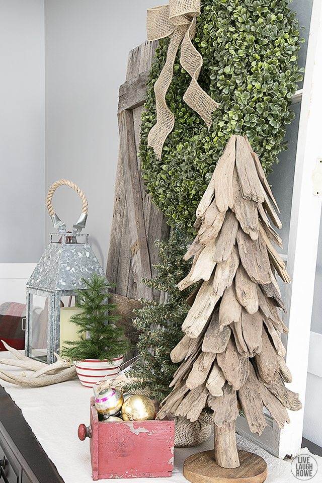Woodland Christmas Home Tour. Rustic Vignette on Dining Room Buffet. livelaughrowe.com