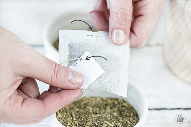How to Make Tea Bags. Attaching the tea tags