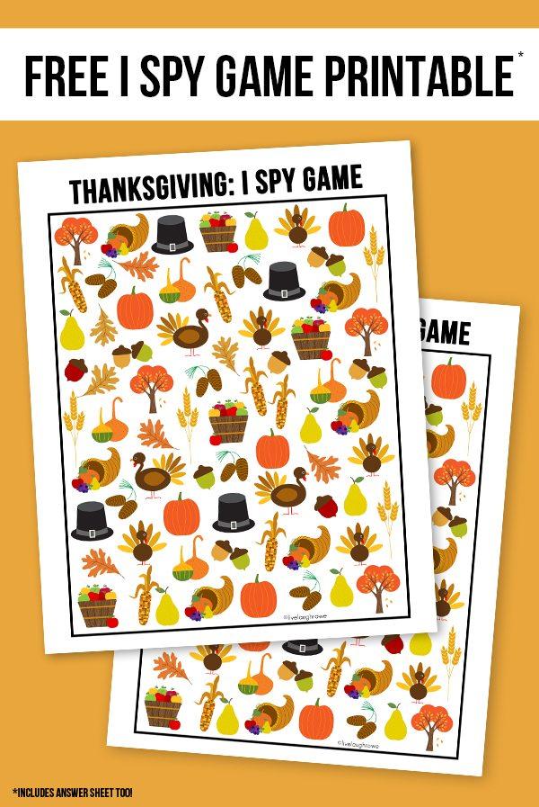 photograph relating to Free Printable Thanksgiving Games titled Thanksgiving I Spy Printable - Stay Giggle Rowe