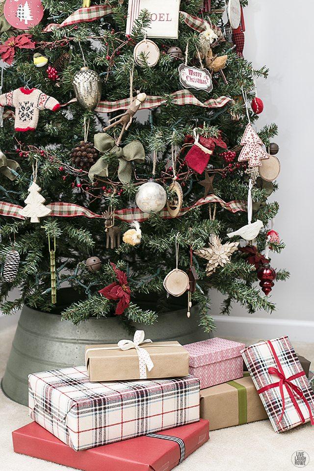 Woodland Christmas Home Tour. Woodland Christmas Tree with gifts. livelaughrowe.com