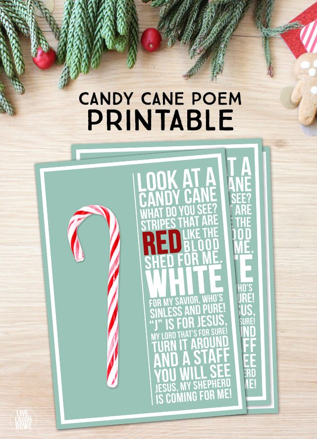 This Candy Cane Poem is a lovely reminder of the true reason for the season! Free printable at livelaughrowe.com