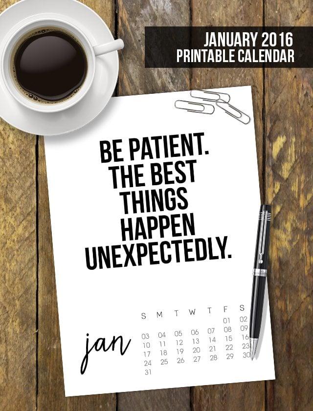 Calendar Inspirational 2016 : January printable calendar live laugh rowe