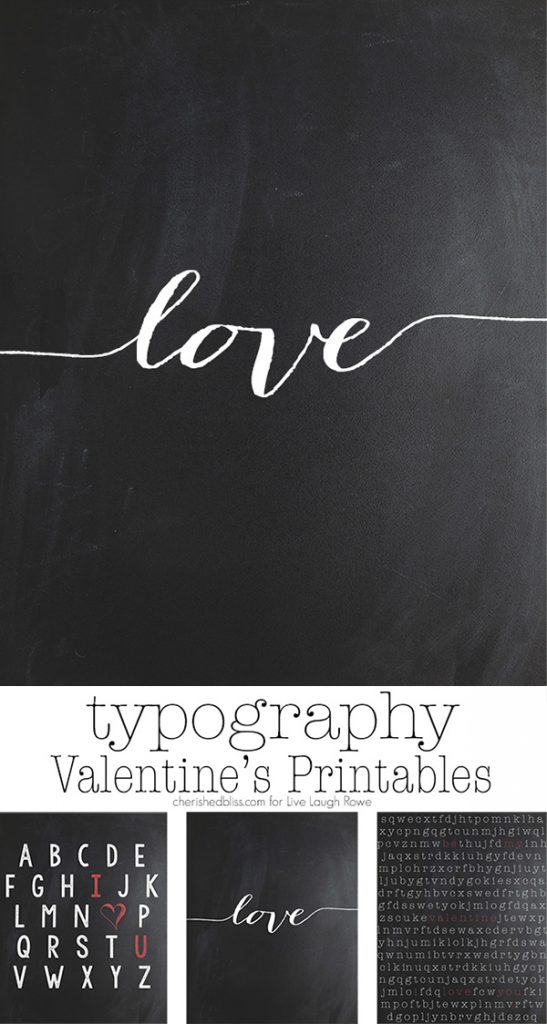 Three Typographic Prints for Valentine's Day!