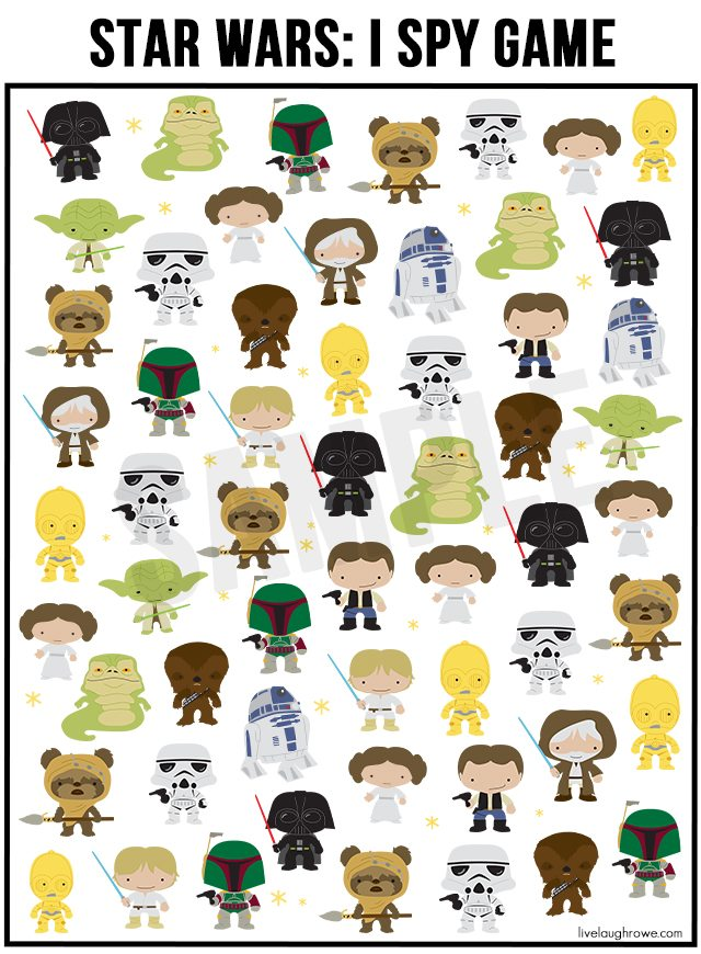 photo regarding Printable Star Wars Images called No cost Star Wars Recreation I Spy Printable - Reside Snicker Rowe