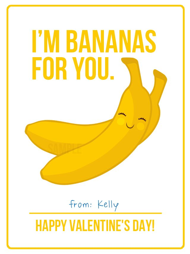 Go bananas with these adorable Fruit Valentines for Kids! livelaughrowe.com