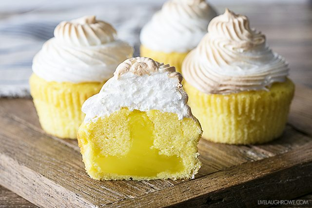 Lemon Meringue Cupcakes with a surprise tart filling!