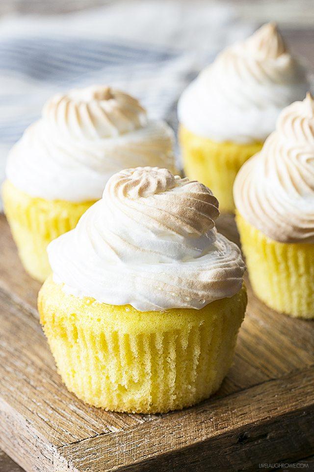 Lemon Meringue Cupcakes with a surprise tart filling!