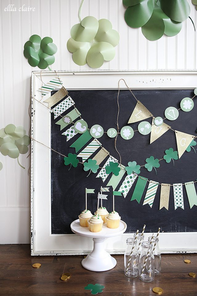 Decorating for holidays can be so much fun! This free circular printable St. Patricks's Day Banner from Ella Claire is darling!