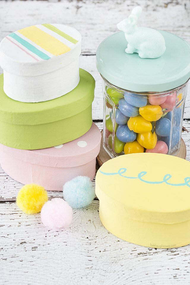 These Easter Treat Boxes are colorful and perfect for gifting bandy or a toy! From a simple oval paper mache box to a festive treat box. They would make a great addition to an Easter basket too. Tutorial at livelaughrowe.com