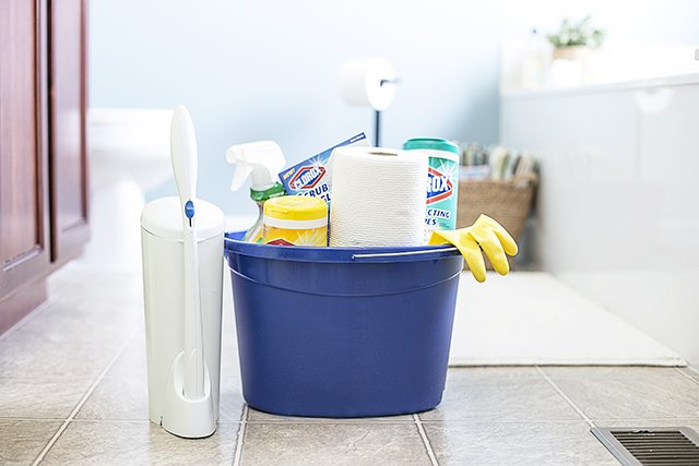 Cleaning supplies for bathroom