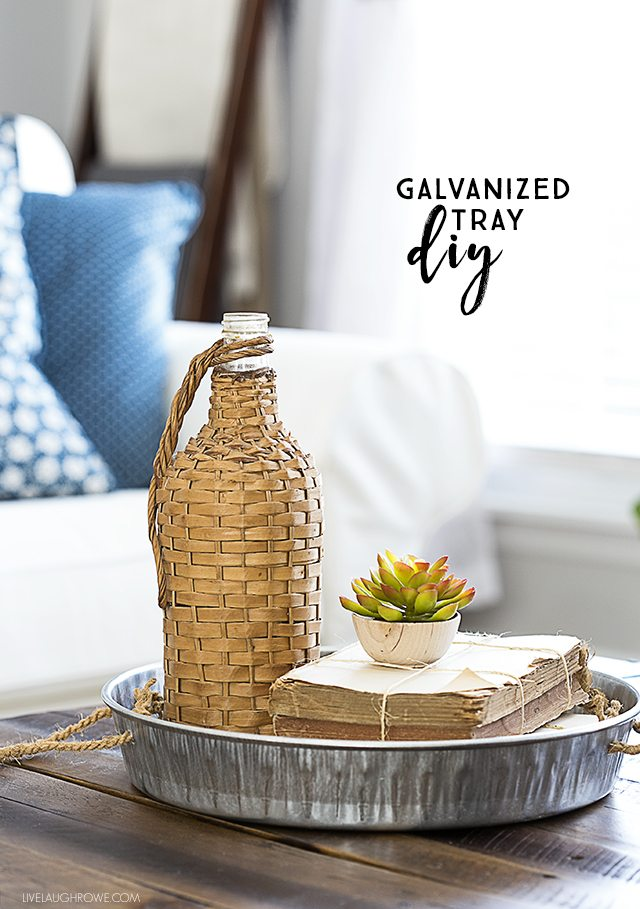 styled diy galvanized tray on coffee table