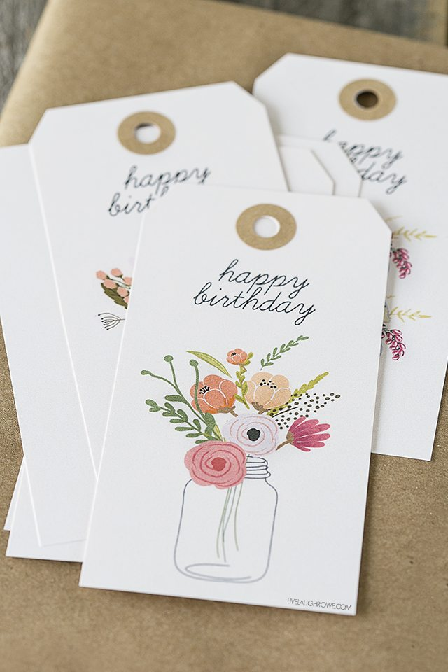 graphic about Birthday Tag Printable named Floral Printable Birthday Reward Tags - Dwell Chortle Rowe