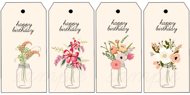 Clean image for free printable birthday tag