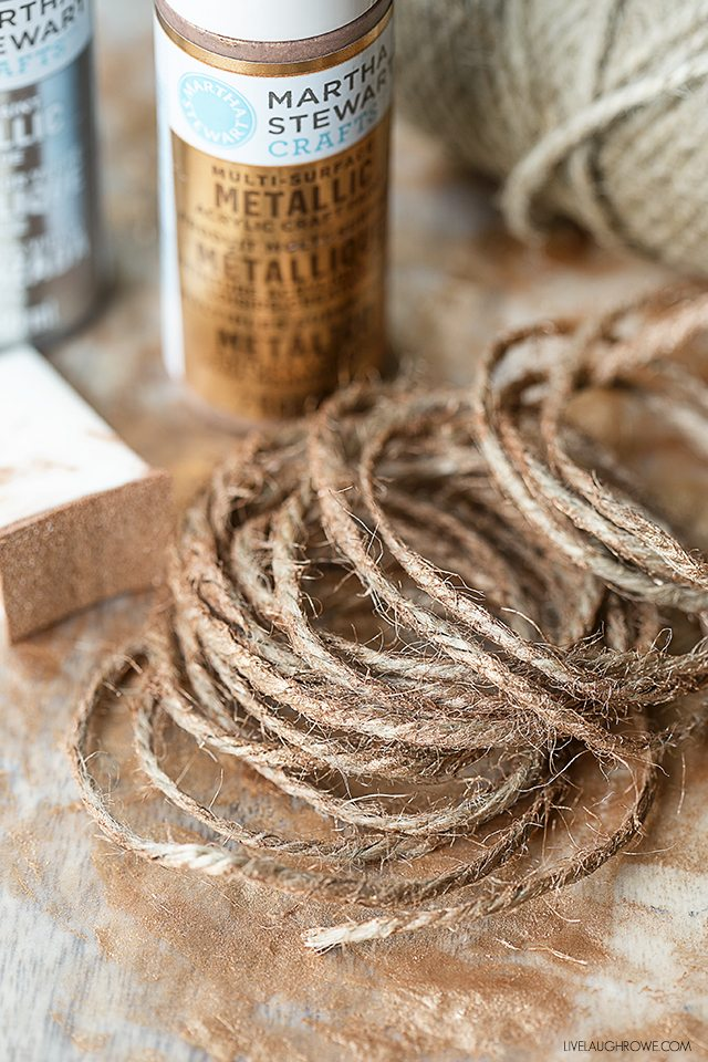 Supplies for hand painted twine. A fun use of jute twine that is great or gift wrap or gifting! livelaughrowe.com